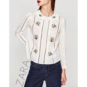NWT Zara embroidered ruffle Peter Pan collar top L